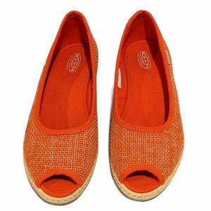 Keen Cortona orange jute wedge shoes sz 8